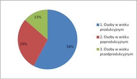 Na zdjęciu jest wykres, który przedstawia, że osoby w wieku przedprodukcyjnym, to 13%, osoby wieku poprodukcyjnym, to: 29% i osoby wieku produkcyjnym, to 58%