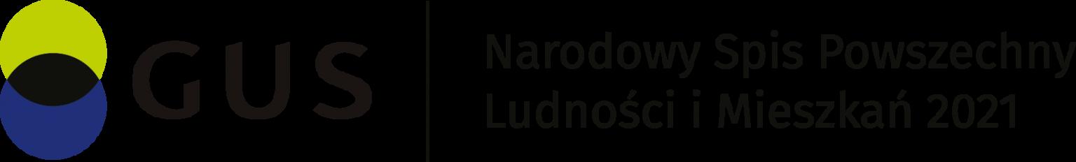 Grafika przedstawia logo Głównego Urzedu Statystycznego oraz napis Narodowy Spis Powszechny Ludności i Miezzkań 2021
